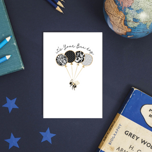 Happy Bee Day Bumble Bee Rose Gold Foil Birthday Balloons Greeting Card