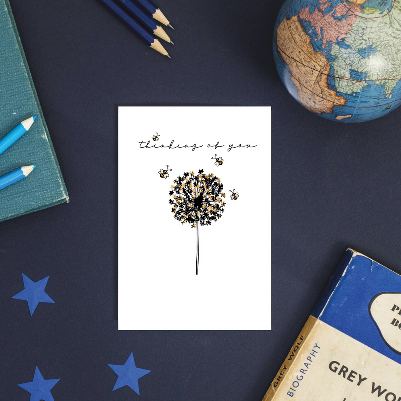 Thinking of you Bumble Bee Rose Gold Foil Greeting Card