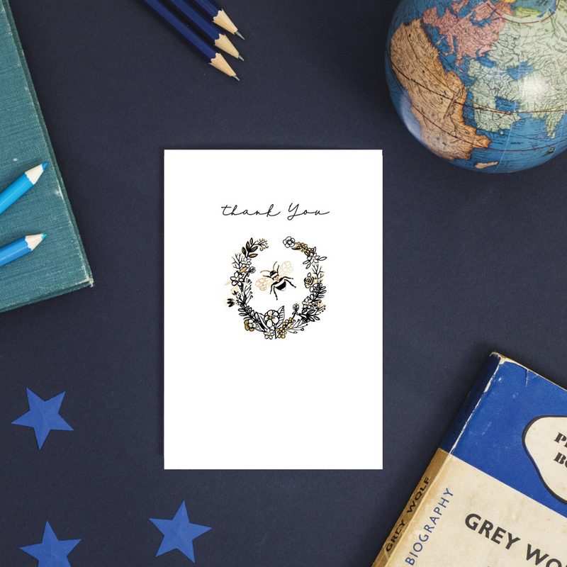 Buzzy Thanks Rose Gold Foil Greeting Card
