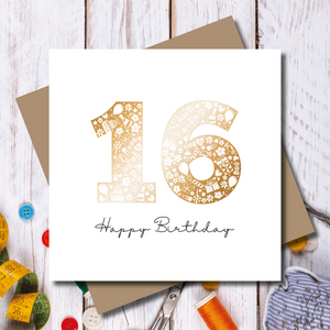 Sweet Sixteen 16th Birthday Rose Gold Foil Greeting Card