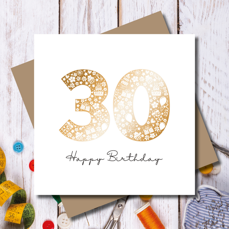 Daisy 30th Birthday Rose Gold Foil Greeting Card