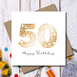Daisy 50th Happy Birthday Rose Gold Foil Greeting Card