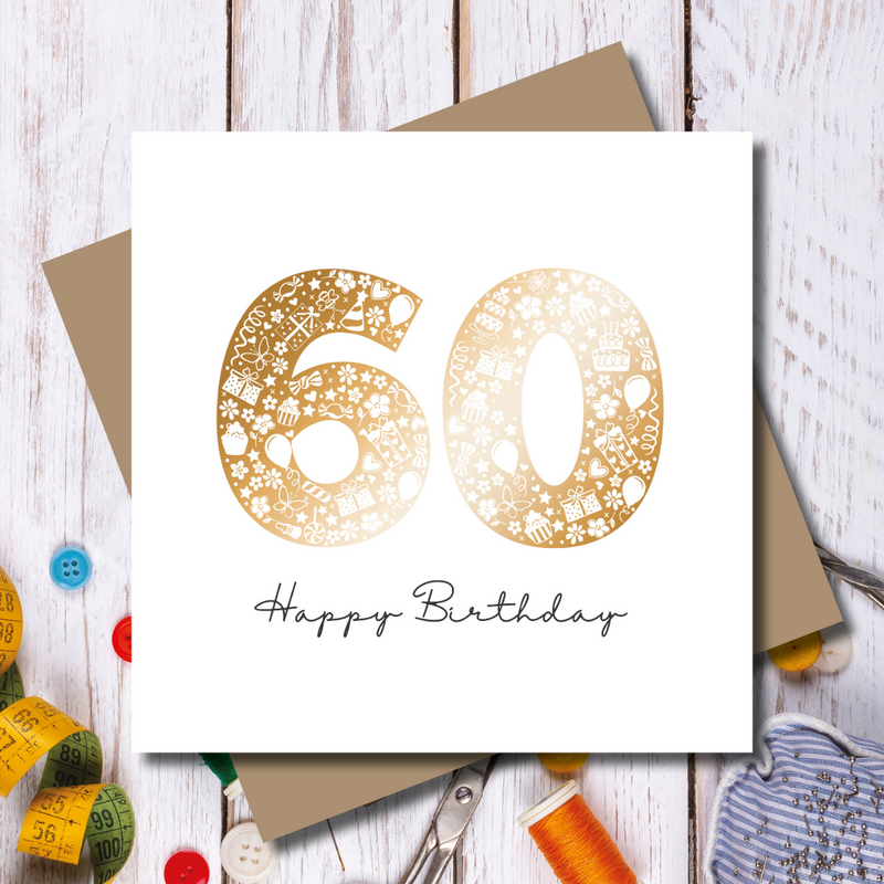 Daisy 60th Happy Birthday Rose Gold Foil Greeting Card