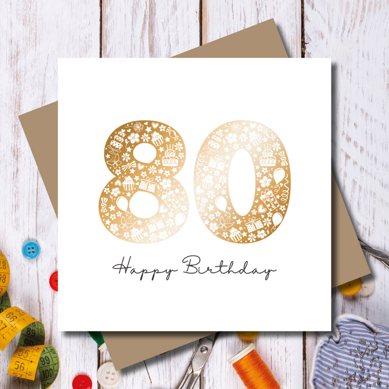 Daisy 80th Happy Birthday Rose Gold Foil Greeting Card