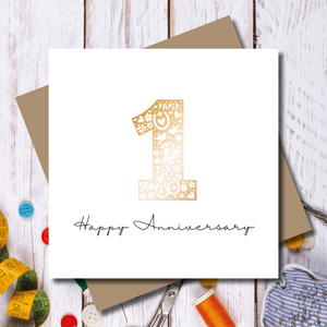Paper 1st Wedding Anniversary Rose Gold Greeting Card