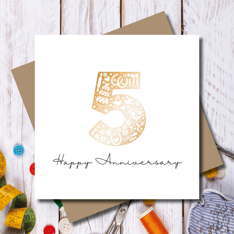 Daisy 5th Wood Wedding Anniversary Rose Gold Foil Greeting Card
