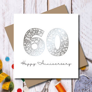 Diamond 60th Wedding Anniversary Silver Foil Greeting Card
