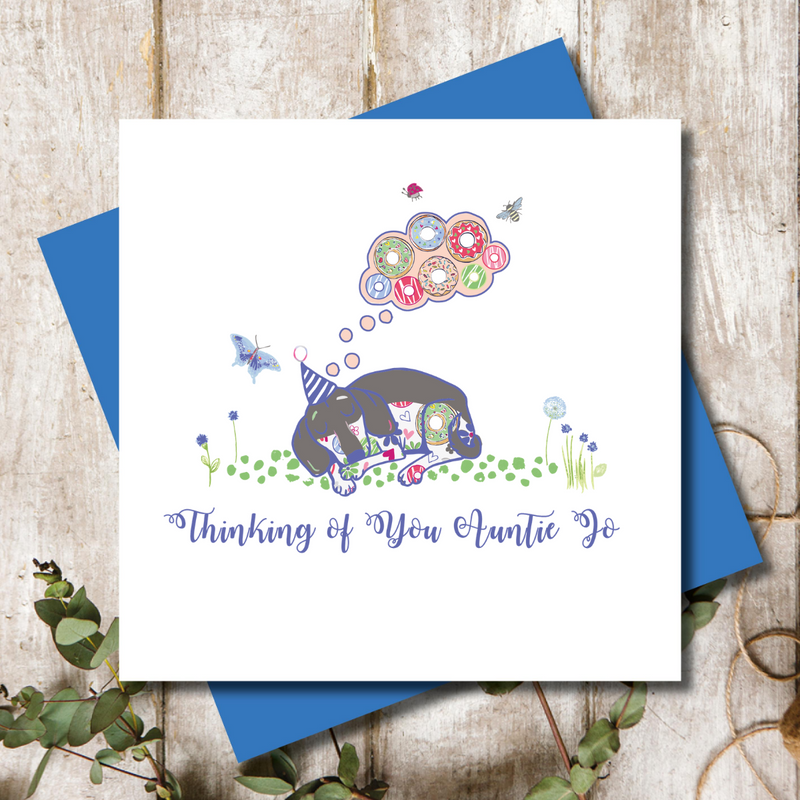 Personalised Thinking of you  Dachshund Dog  Greeting Card