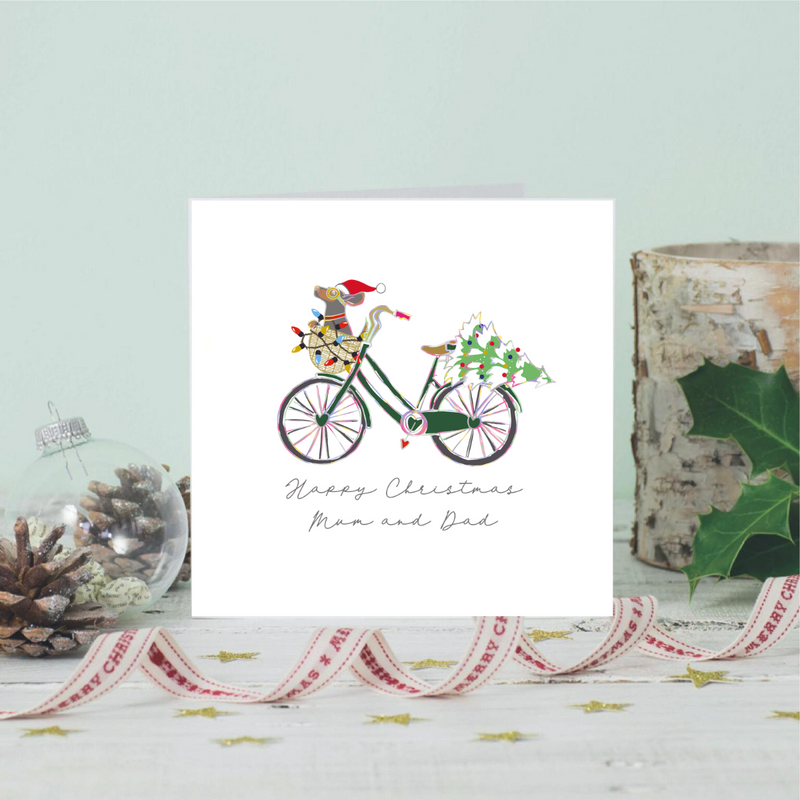 Personalised Ditsy Dachshund Dog Noel Bike Greeting Card
