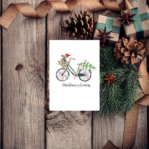 Ditsy Dachshund Dog Noel Bike Christmas Card