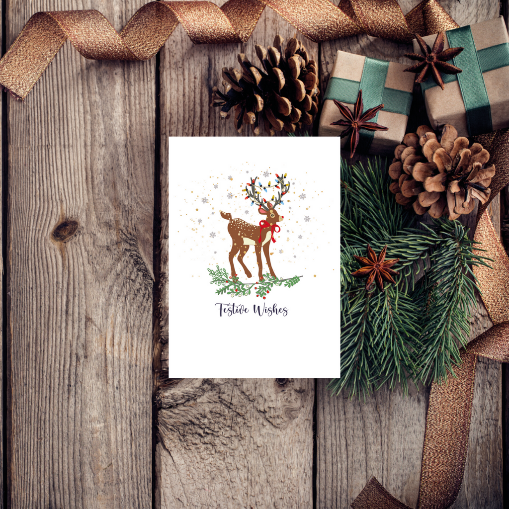 Victor Stag Festive Christmas Wishes Greeting Card