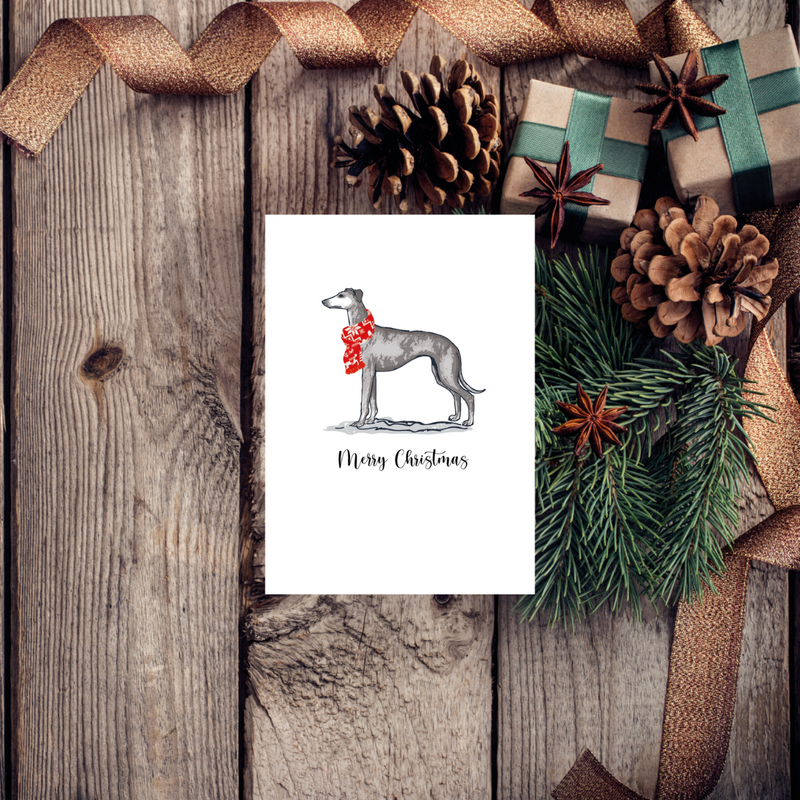 Greyhound Christmas Dog Greeting Card