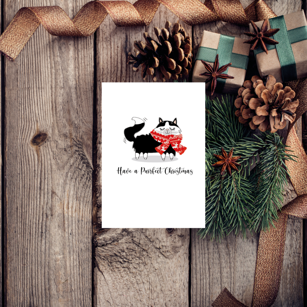 Purrfect Christmas Black Cat  Greeting Card