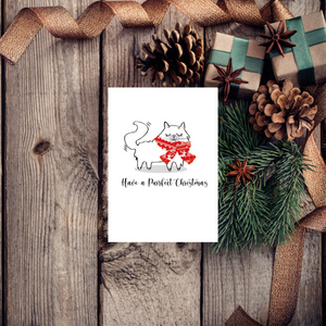 Purrfect Christmas White Cat Greeting Card