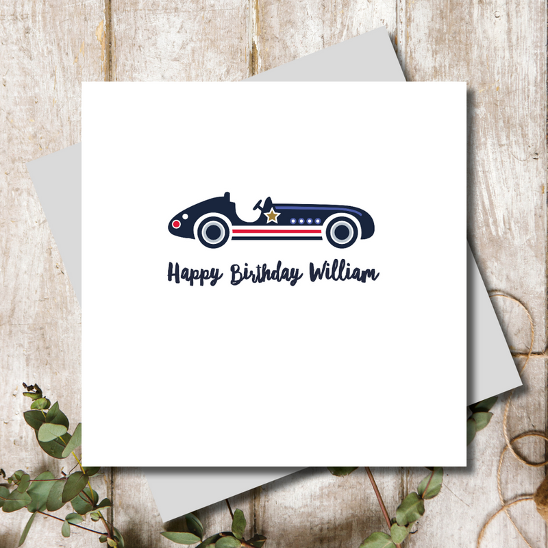 Racing Vintage Car Jack Birthday Greeting Card