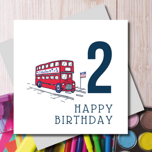 Happy 2nd Birthday London Bus Greeting Card