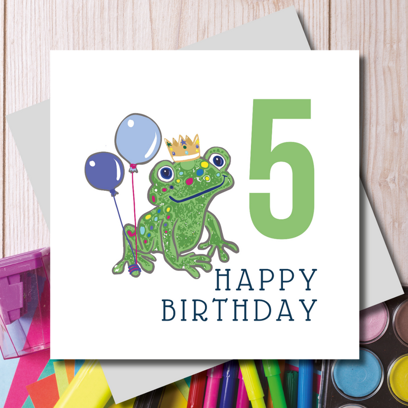 Happy 5th Birthday Prince Green Frog Greeting Card