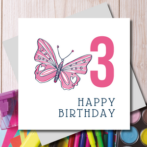 Happy 3rd Birthday Pink Butterfly Greeting Card