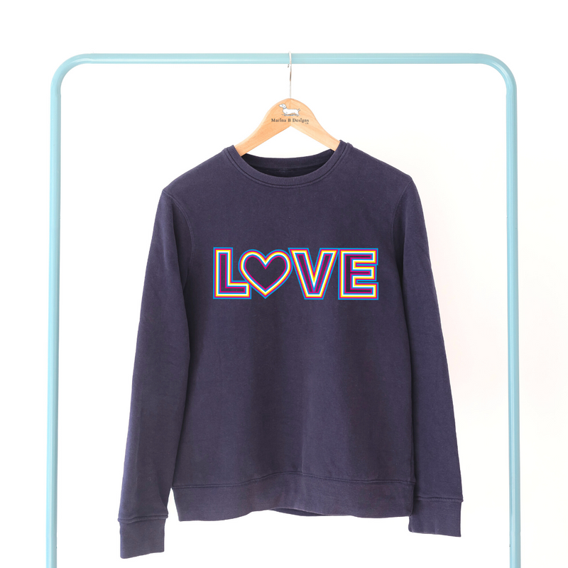 Rainbow LOVE Women's Navy Jumper