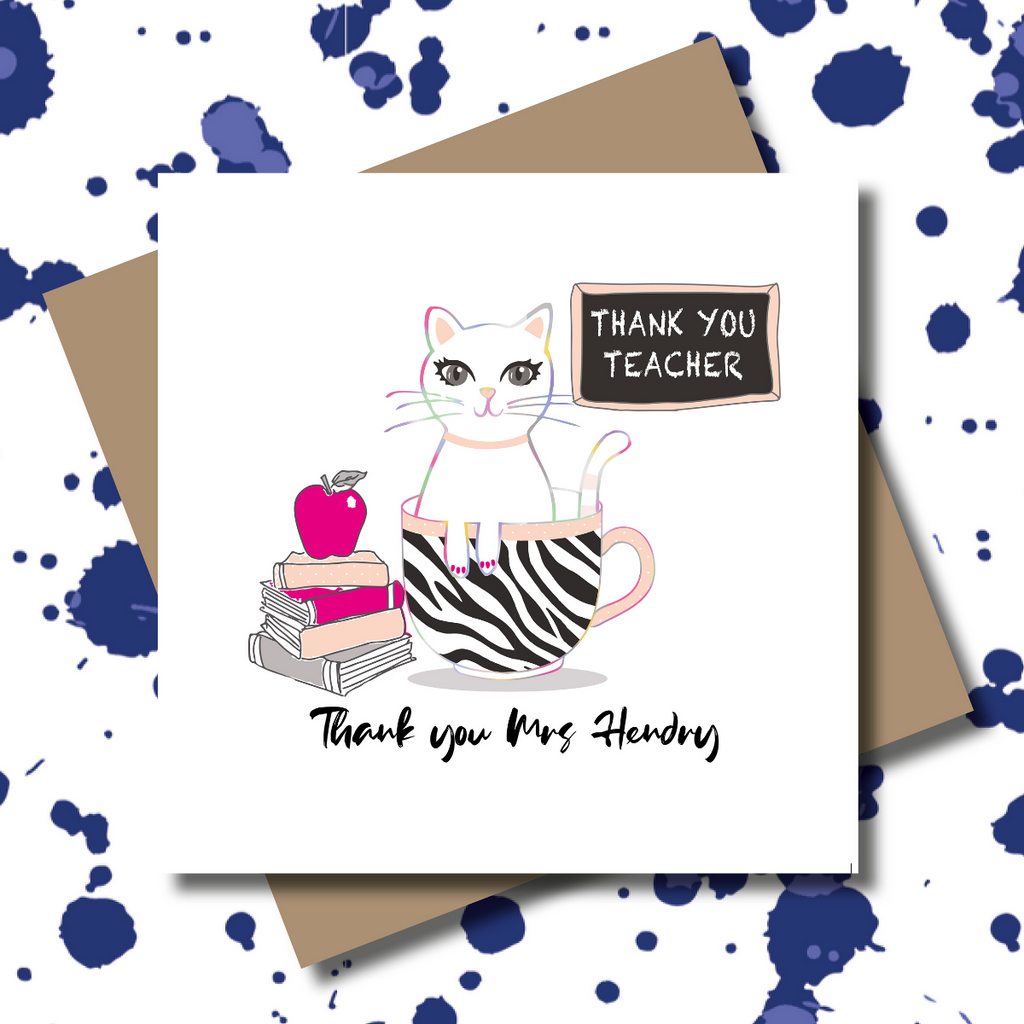 Personalised Key Worker Cat Teacher Teacup Greeting Card