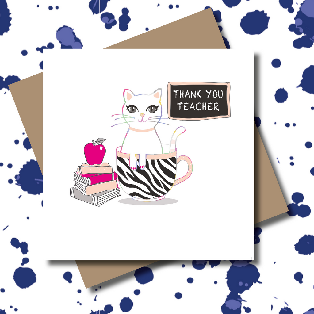 Key Worker Cat Teacher Teacup Greeting Card