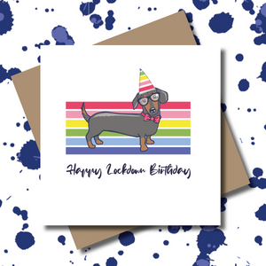 Key Worker Rainbow Dachshund Dog Greeting Card
