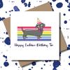 Personalised Rainbow Dachshund Dog Greeting Card