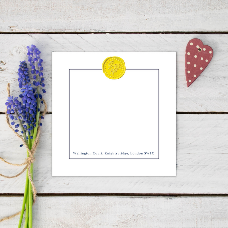 Personalised Bee Happy Yellow Wax Seal Notecards
