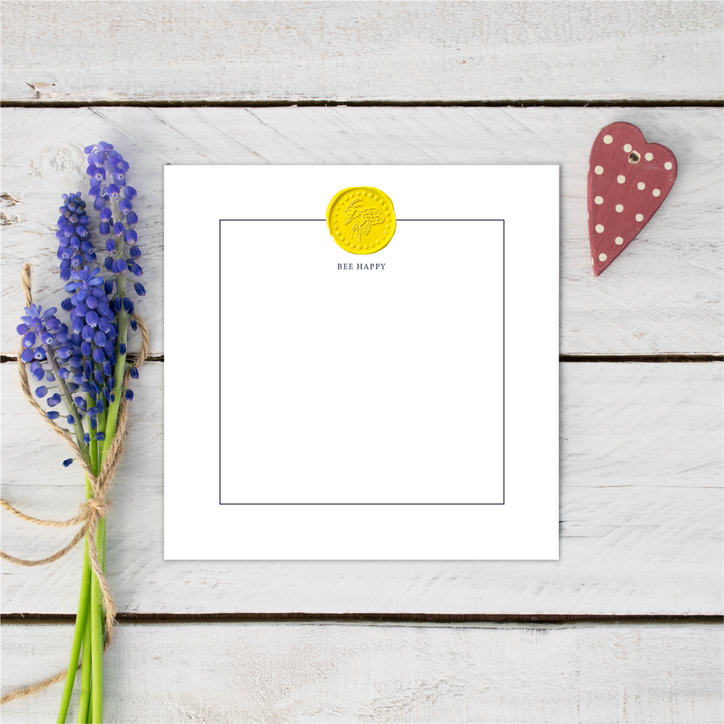 Bee Happy Yellow Wax Seal Notecards