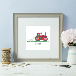 Personalised Farmer  Red Tractor Grey Framed Print