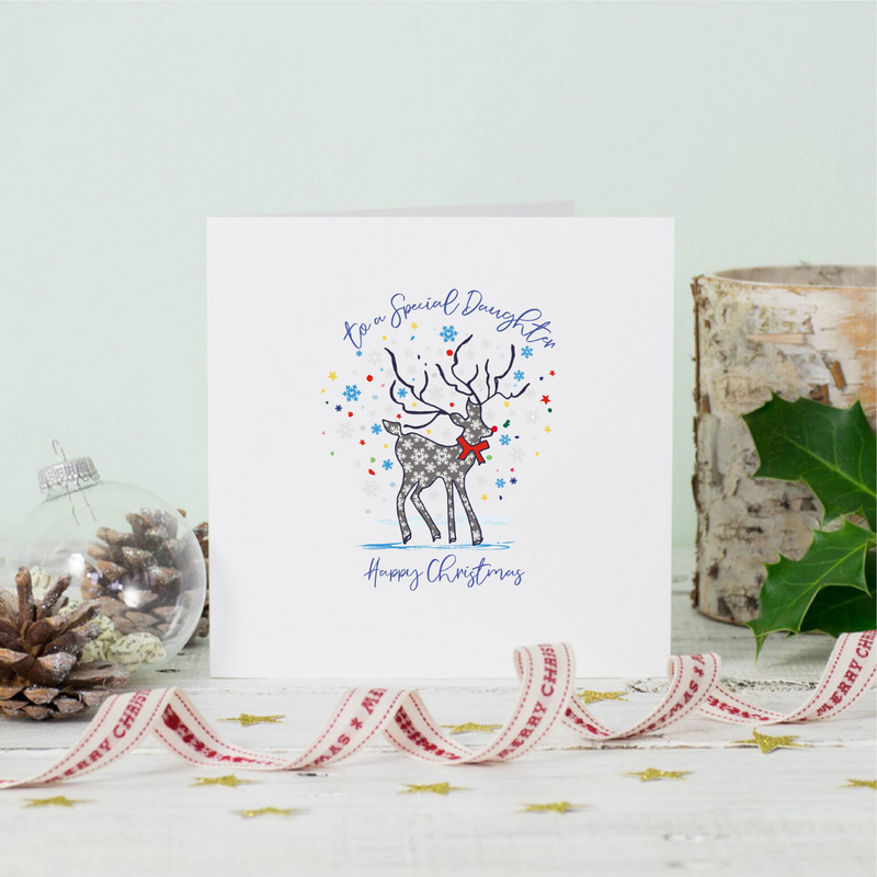 Daughter Stag Christmas Greeting Card