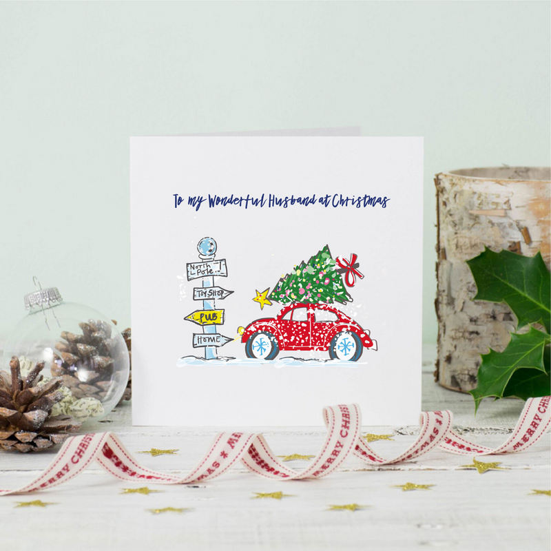 Christmas Snowy Car Husband Greeting Card