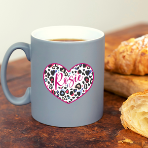 Leopard Print Heart Personalised Grey Mug
