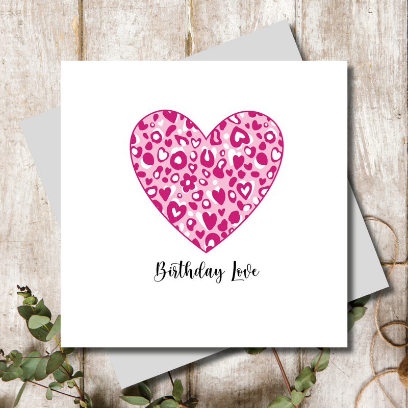 Pink Animal Print Birthday Love Heart Greeting Card