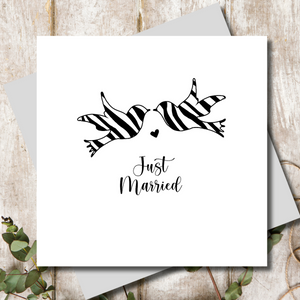 Monochrome Spotty Animal Print Doves Wedding Greeting Card