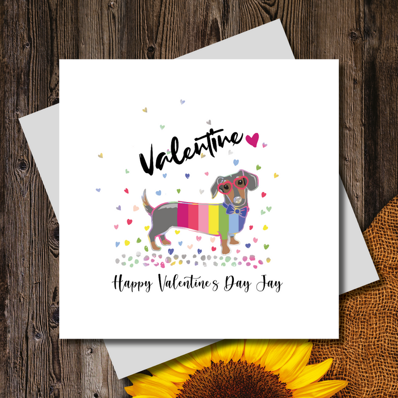 Rainbow Dachshund Heart Sunglasses Greeting Card