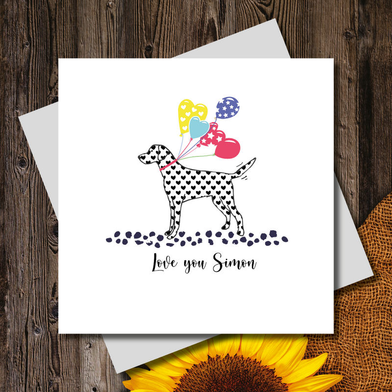 Love Balloons Heart Print Dalmatian Greeting Card