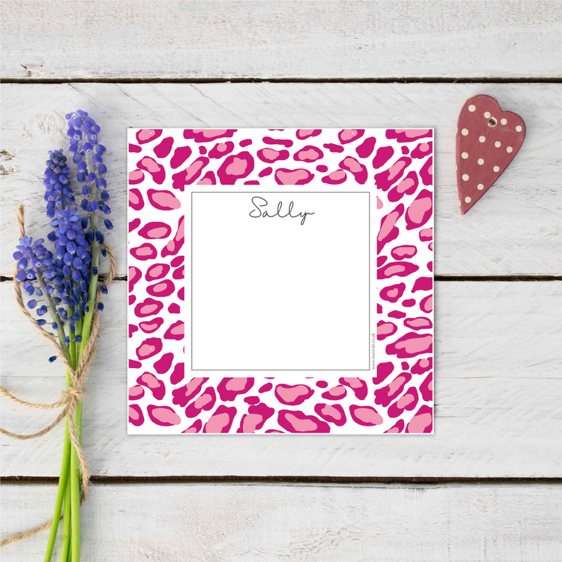 Hot Pink Leopard Print Personalised Notecards