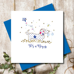 Dachshund New Baby Boy Greeting Card