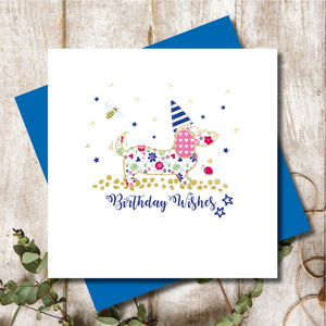 Ditsy Dachshund Birthday Hat Greeting Card