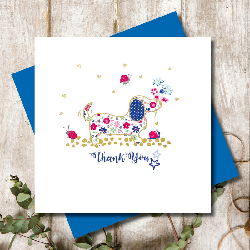 Ditsy Dachshund Birthday Flowers Greeting Card