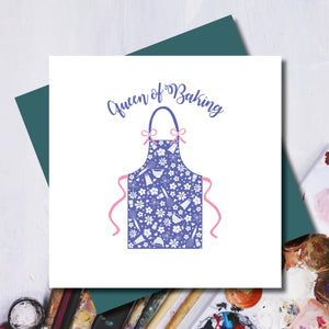 Queen of Baking Cook Apron Greeting Card