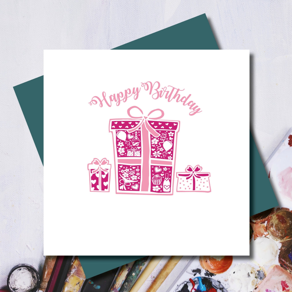 Daisy Pink Pressies Happy Birthday Greeting Card