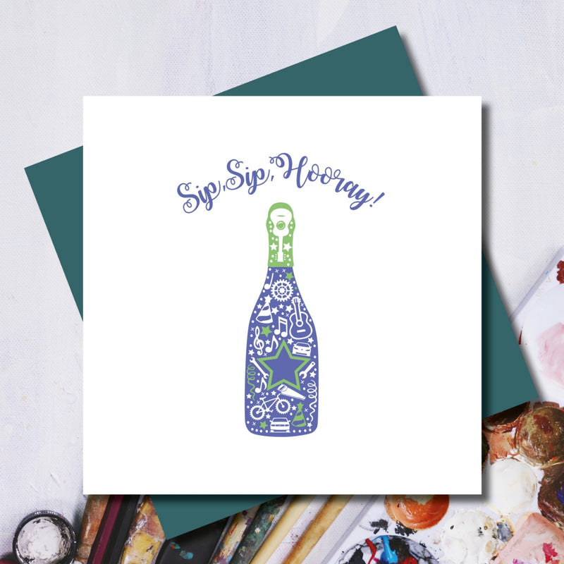 Sip Sip Hooray Birthday Bottle Greeting Card