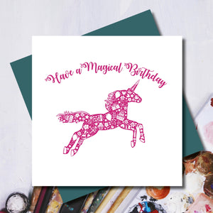 Daisy Happy Birthday Magical Unicorn Greeting Card