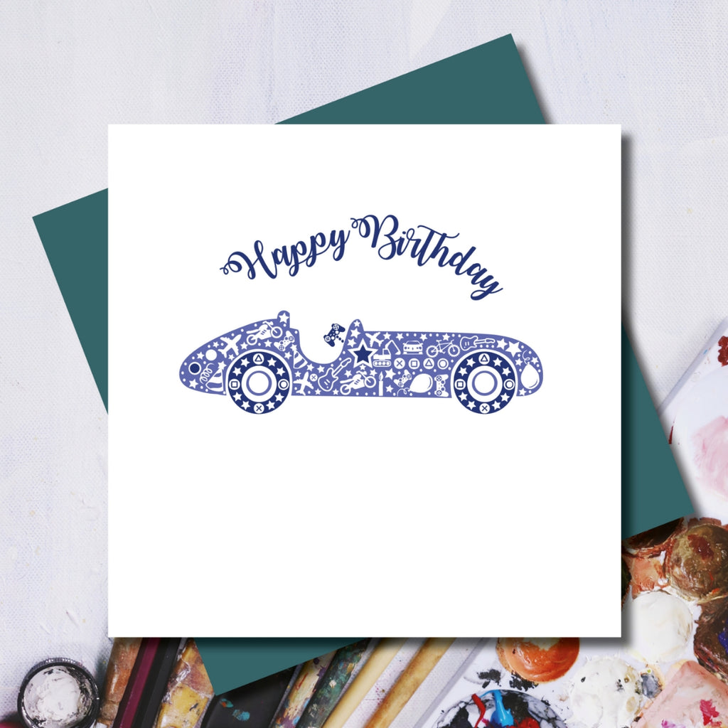 Daisy Racing Car Birthday Greeting Card