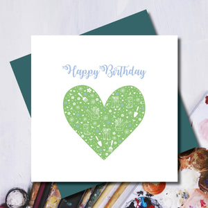 Daisy Gardener Happy Birthday Heart Greeting Card