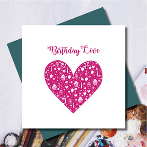Daisy Pink Happy Birthday Heart Greeting Card