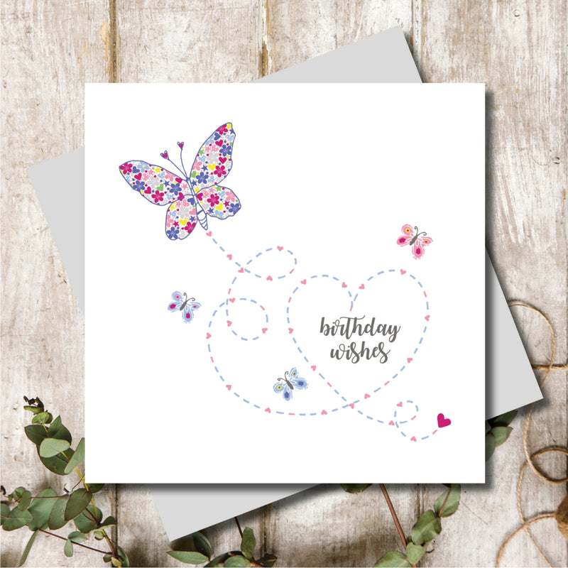 Ditsy Happy Birthday Butterfly Greeting Card