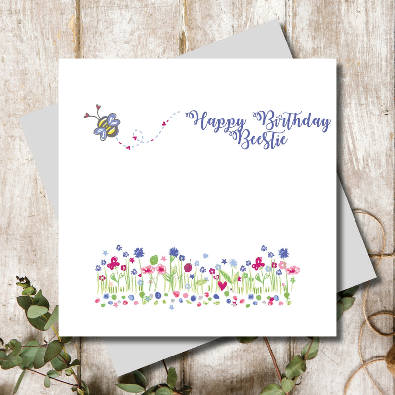 Happy Birthday Bee Bestie Greeting Card